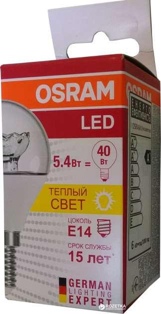 OSRAM | E14 P 5.4W(=40W)/830  LED прозр  470lm 15000h LS CLP Osram 4052899971622