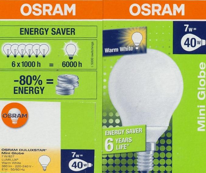 OSRAM | E14  7 (=40)W/827 Mini Globe (шарик) DULUXSTAR 800lm 10000h Osram D58 H95