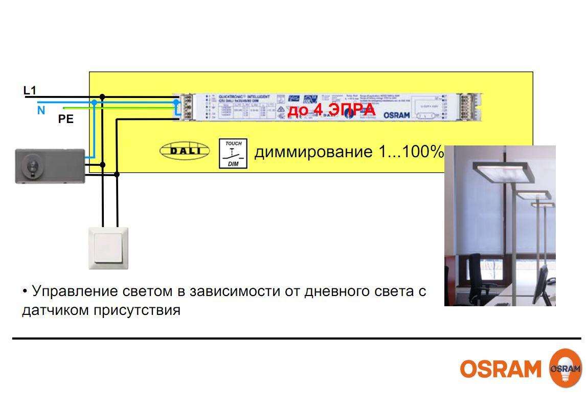 OSRAM | INFO OSRAM Управление DALI люм свет схема включения
