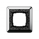 GIRA | 0211682 Рамка 1-местная black/silver+гравировка Classix Gira