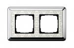 GIRA | 0212683 Рамка 2-местная cream/silver+гравировка Classix Gira