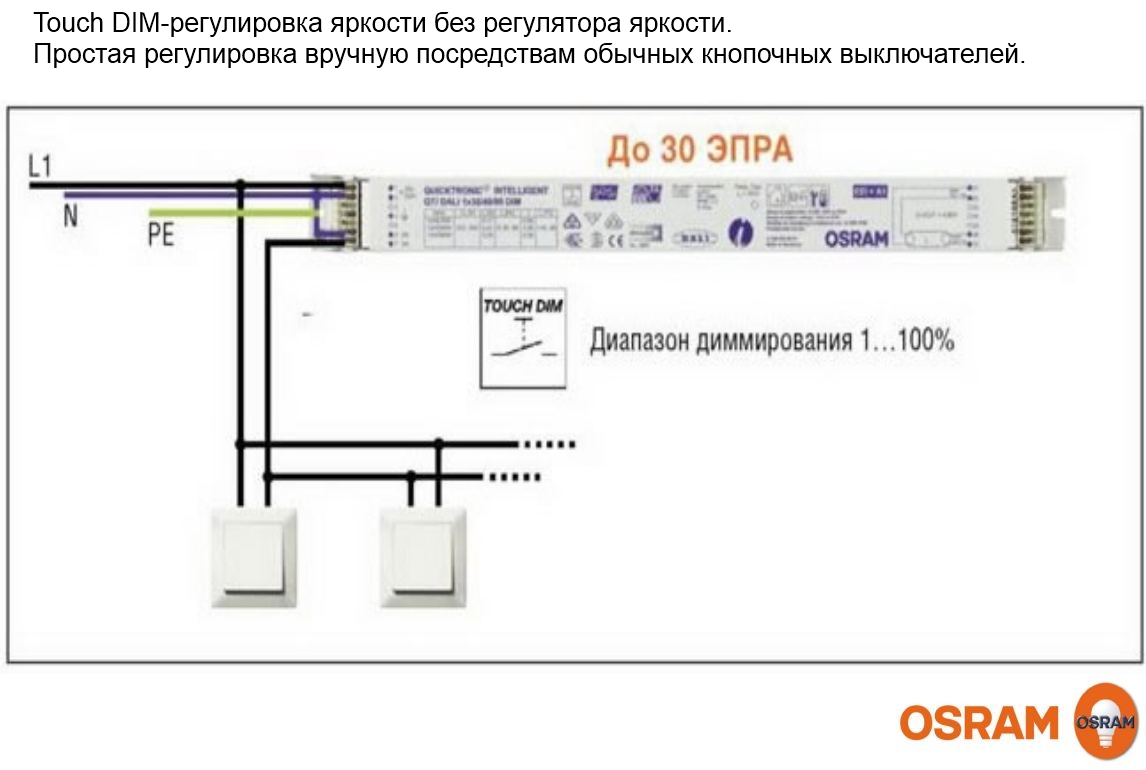 OSRAM INFO OSRAM Управление Touch DIM DALI люм свет схема включения.
